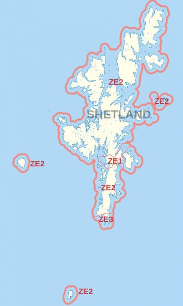 Map of Shetland And ZE postcode
